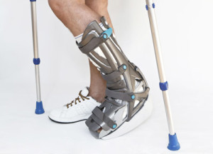 orthotic brace supports broken ankle